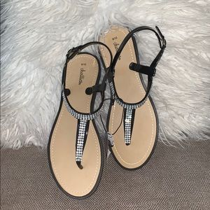 Chatties Black Sparkly Jelly Sandals